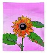 Illustration Of A Sunflower On A Pink Background Fleece Blanket