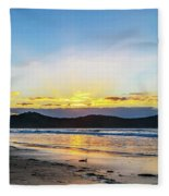 Sunrise Seascape And Crepuscular Rays Fleece Blanket