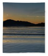 Sunrise Waterscape And Silhouettes Fleece Blanket