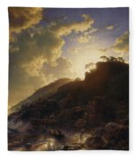 Sunset After A Storm On The Coast Of Sicily Fleece Blanket
