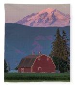 Sunset Reflection On Mt. Baker Fleece Blanket