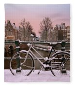 Sunset In Snowy Amsterdam In The Netherlands In Winter Fleece Blanket