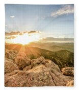 Sunset Over The Mountains Of Flaggstaff Road In Boulder, Colorad Fleece Blanket