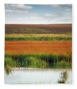 Swamp With Birds Landscape Autumn Season Fleece Blanket