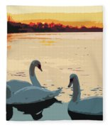 Swans At Sunset Fleece Blanket