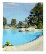 Swimming Pool Summer Vacation Scene Fleece Blanket