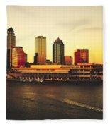 Tampa At Sunset Fleece Blanket