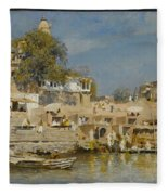 Temples And Bathing Ghat Fleece Blanket