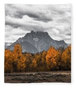 Teton Fall - Modern View Of Mt Moran In Grand Tetons Fleece Blanket