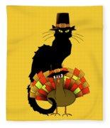 Thanksgiving Le Chat Noir With Turkey Pilgrim Fleece Blanket