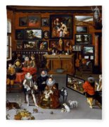 The Archdukes Albert And Isabella Visiting A Collector's Cabinet Fleece Blanket