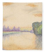 The Banks Of The Marne At Dawn Fleece Blanket