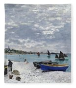 The Beach At Sainte Adresse Fleece Blanket