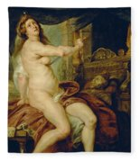 Panthea Stabbing Herself With A Dagger After The Death Of Her Husband Abradates Fleece Blanket