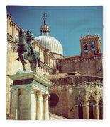 The Equestrian Statue Of Bartolomeo Colleoni In Venice Fleece Blanket