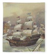 The Fleet Of Jean Ango Blocks The Tagus Fleece Blanket
