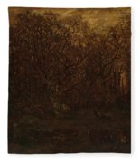 The Forest In Winter At Sunset Fleece Blanket