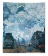 The Gare Saint-lazare Arrival Of A Train Fleece Blanket