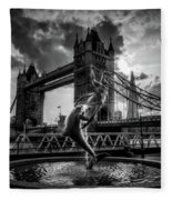 The Girl And The Dolphin - London Fleece Blanket