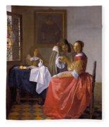 The Girl With A Wineglass Fleece Blanket