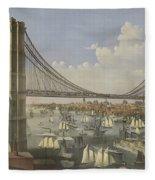 The Great East River Suspension Bridge Fleece Blanket