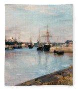 The Harbor At Lorient Fleece Blanket