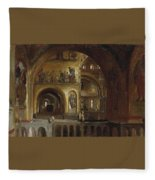 The Interior Of St Marks Basilica Venice Frederick Leighton Fleece Blanket