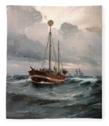 The Lightship At Skagen Reef Fleece Blanket