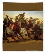 The Lion Hunt Horace Vernet Fleece Blanket