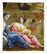 The Muses Urania And Calliope Fleece Blanket