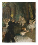 The Rehearsal Of The Ballet On Stage Fleece Blanket