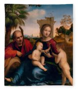 The Rest On The Flight Into Egypt With St. John The Baptist Fleece Blanket