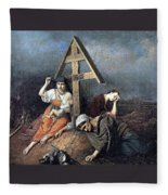 The Scene At The Grave H 1859 58h69 Am Gtg Vasily Perov Fleece Blanket