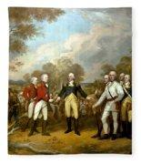 The Surrender Of General Burgoyne Fleece Blanket