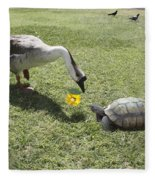 The Turtle And The Goose Fleece Blanket