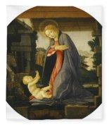 The Virgin Adoring The Child Fleece Blanket