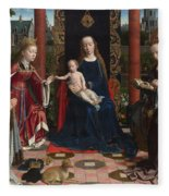 The Virgin And Child With Saints And Donor Fleece Blanket