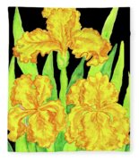 Three Yellow Irises, Painting Fleece Blanket