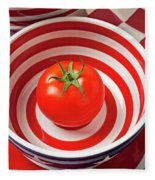 Tomato In Red And White Bowl Fleece Blanket