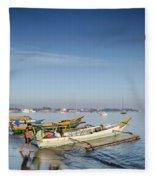 Traditional Fishing Boats On Dili Beach In East Timor Leste Fleece Blanket