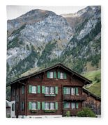 Traditional Swiss Alps Houses In Vals Village Alpine Switzerland Fleece Blanket