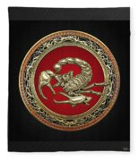 Treasure Trove - Sacred Golden Scorpion On Black Fleece Blanket