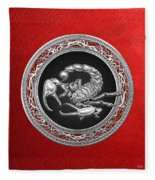 Treasure Trove - Sacred Silver Scorpion On Red Fleece Blanket