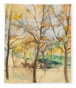 Trees In The Bois De Boulogne Fleece Blanket