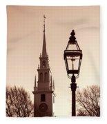 Trinity Church Newport With Lamp Fleece Blanket by Nancy De Flon