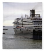 Tugboat Assisting Big Cruise Liner In Venice Italy Fleece Blanket