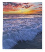 Twilight At Gale Beach In Albufeira Fleece Blanket