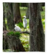 Two Baby Great Egrets And Nest Fleece Blanket