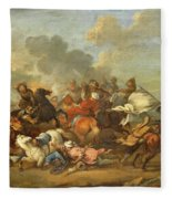 Two Battle Scenes Between Christians And Saracens Fleece Blanket