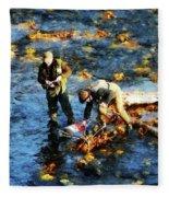 Two Men Fishing Fleece Blanket
